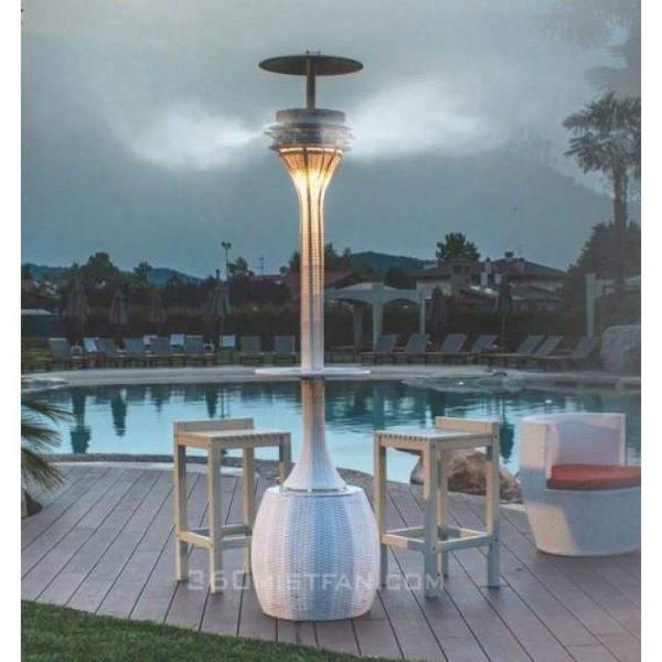 Arura LED misting fan near a pool (courtest of 360mistfan.com)