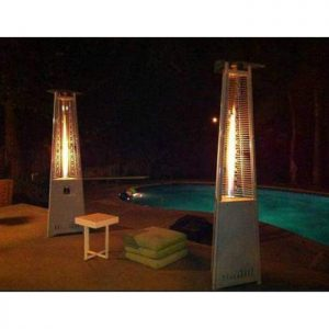 2 patio heaters triangle-pyramid by pool