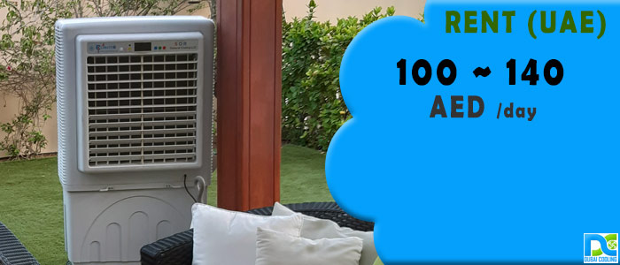 Climate+ 8000m3 outdoor air cooler rental at private villa in Dubai